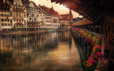 Lucerne, HDR, river, sunsen, evening, Switzerland, Europe