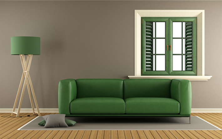 Download wallpapers stylish interior, living room, green ...