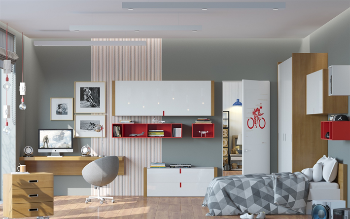 stylish interior design, childrens room, project, bright spacious room, modern interior