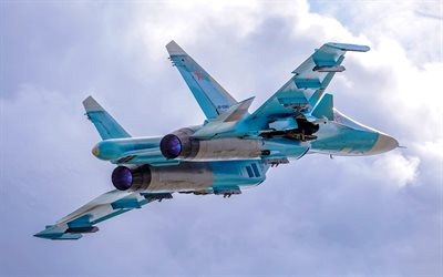 Sukhoi Su-34, Fullback, fighter-bomber, combat aircraft, Super Flanker, Russian Air Force, Su-34, strike aircraft
