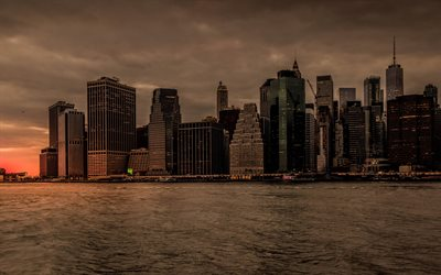 4k, New York, downtown, sunset, cityscapes, Manhattan, skyscrapers, USA, America
