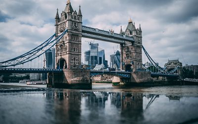 4k, Tower Bridge, panorama, english landmarks, skyline, London, England, UK