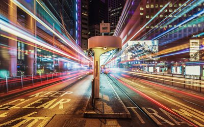 4k, Hong Kong, street, traffic lights, nightscapes, Asia, China