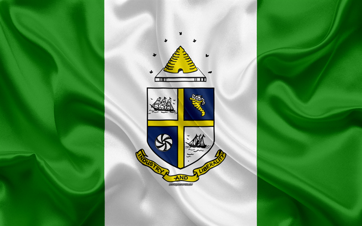 Flag of Saint Catharines, 4k, silk texture, Canadian city, green white silk flag, Saint Catharines flag, Ontario, Canada, art, North America, Saint Catharines