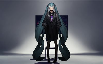 4k, Hatsune Miku, darness, long hair, Vocaloid, Miku Hatsune, manga