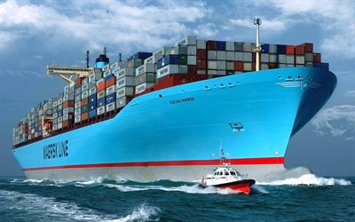 Eugen Maersk, container ship, tug, Maersk Line, container carrier, cargo ship, Maersk