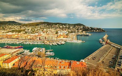 Nice, evening, sunset, bay, harbor, France, Mediterranean, Riviera, yachts