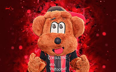 Cherry Bear, 4k, mascot, Bournemouth, abstract art, Premier League, creative, official mascot, neon lights, Bournemouth FC mascot