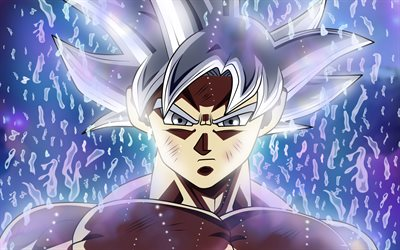 4k, Ultra Instinct Goku, rain, Son Goku, Dragon Ball, artwork, Migatte No Gokui, Mastered Ultra Instinct, Dragon Ball Super, Super Saiyan God, DBS