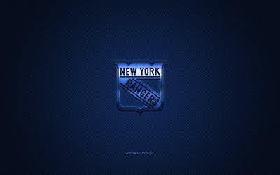 New York Rangers, American hockey club, NHL, blue logo, blue carbon fiber background, hockey, New York, USA, National Hockey League, New York Rangers logo