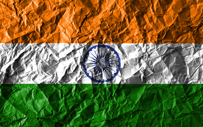 Download Wallpapers Indian Flag 4k Crumpled Paper Asian