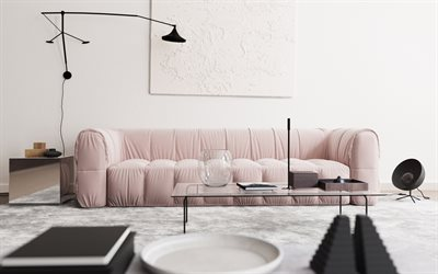 white living room, white interior, modern design, pink sofa, black floor lamp, white walls, minimalist interior