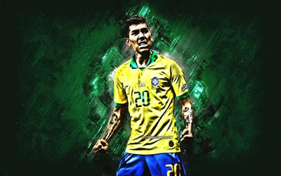 Roberto Firmino, portrait, Brazil national football team, Brazilian football player, attacking midfielder, green stone background, Brazil, football