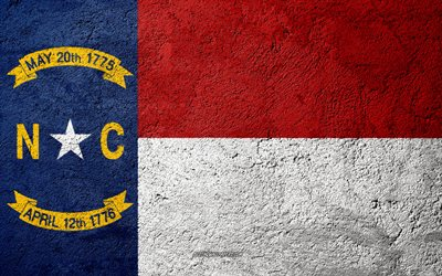 Flag of State of North Carolina, concrete texture, stone background, North Carolina flag, USA, North Carolina State, flags on stone, Flag of North Carolina