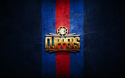 Los Angeles Clippers, golden logo, NBA, blue metal background, american basketball club, Los Angeles Clippers logo, basketball, USA, LA Clippers