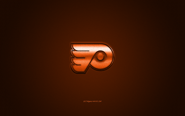 Philadelphia Flyers, American hockey club, NHL, orange logo, orange carbon fiber background, hockey, Philadelphia, Pennsylvania, USA, National Hockey League, Philadelphia Flyers logo