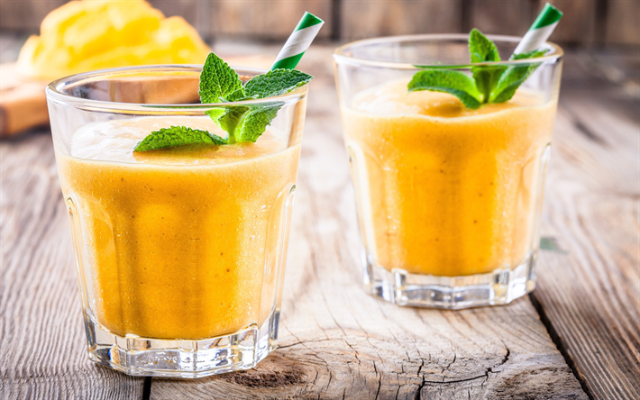 banana mango smoothies, 4k, fruits, breakfast, banana, mango, healthy food, fruit smoothies