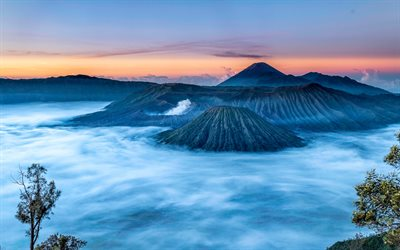 Mount Bromo, 4k, sunset, Indonesian landmarks, Bromo Tengger Semeru National Park, volcano, Indonesia, Asia, beautiful nature