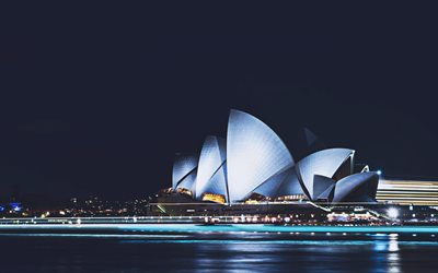 Sydney Opera, 4k, nightscapes, cityscapes, Australia, australian cities, Sydney Harbour, Sydney Opera at night