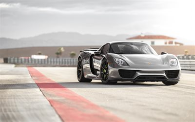 Porsche 918 Spyder, 2019, gray sports coupe, racing track, new gray 918 Spyder, German sports cars, Porsche