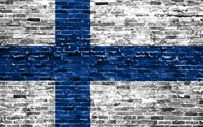 4k, Finnish flag, bricks texture, Europe, national symbols, Flag of Finland, brickwall, Finland 3D flag, European countries, Finland