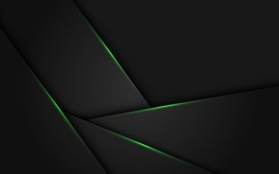 black stylish background, green neon lines, green light effects, abstract black background