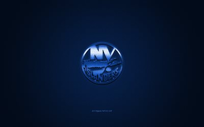 New York Islanders, American hockey club, NHL, blue logo, blue carbon fiber background, hockey, New York, USA, National Hockey League, New York Islanders logo