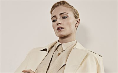 Sophie Turner, portrait, british actress, photoshoot, beige jacket, stylish costume, british star