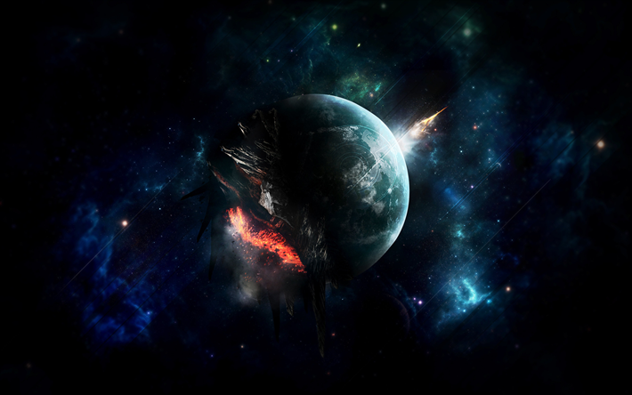 4k, explosion of planet, stars, nebula, galaxy, destruction of planet, asteroids, sci-fi, universe, planets