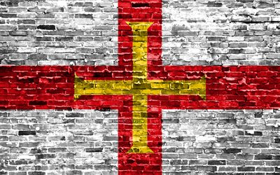 4k, Guernsey flag, bricks texture, Europe, national symbols, Flag of Guernsey, brickwall, Channel Islands, Guernsey 3D flag, European countries, Guernsey