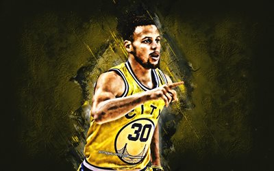 Stephen Curry, Golden State Warriors, American Basketball Player, yellow stone background, NBA, basketball, USA