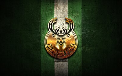 Milwaukee Bucks, logo dorato, NBA, verde, metallo, sfondo, americano, basket club, logo, basket, USA
