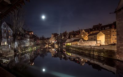 Nuremberg, night, city lights, river, Nuremberg cityscape, Bavaria, Germany