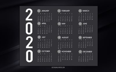 2020 Calendar, black stylish background, black lines background, 2020 black calendar, calendar for 2020 all months, Year 2020 Calendar
