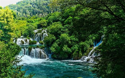 Krka National Park, waterfalls, beautiful nature, Lozovac, Croatia, Europe, forest, HDR, croatian landmarks