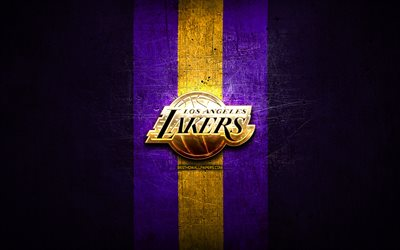 Los Angeles Lakers, logo dorato, NBA, viola, metallo, sfondo, american club di pallacanestro, i Los Angeles Lakers logo, basket, USA, LA Lakers