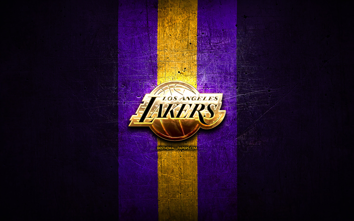 Los Angeles Lakers, golden logo, NBA, violet metal background, american basketball club, Los Angeles Lakers logo, basketball, USA, LA Lakers