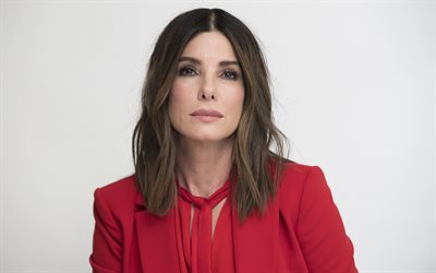Sandra Bullock, portrait, american actress, photoshoot, red dress