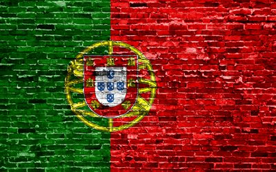 4k, Portuguese flag, bricks texture, Europe, national symbols, Flag of Portugal, brickwall, Portugal 3D flag, European countries, Portugal