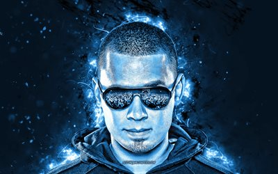 4k, Afrojack, blue neon lights, Dutch DJs, Nick van de Wall, music stars, superstars, fan art, Afrojack 4K
