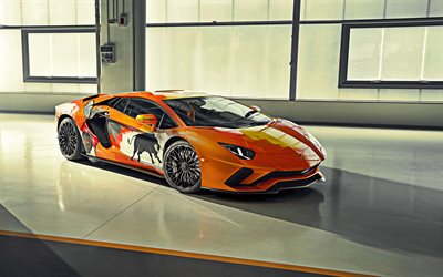 Lamborghini Aventador S, Skyler Grey, 2019, orange supercar, front view, tuning Aventador S, Italian sports coupe, Lamborghini