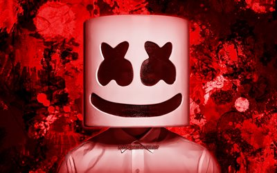 DJ Marshmello, red paint splashes, superstars, Christopher Comstock, american DJ, music stars, Marshmello, red grunge background, DJs