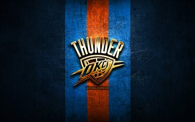 oklahoma city thunder, golden logo, nba, blau metall-hintergrund, der amerikanischen basketball-club, okc, oklahoma city thunder-logo, basketball, usa, okc logo