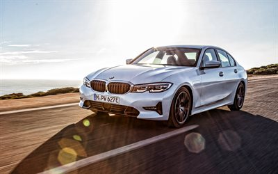 BMW 3, 2019, G20, exterior, front view, new white BMW 3, German cars, BMW 330e Sedan, BMW