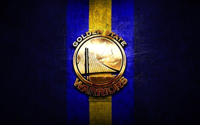 Golden State Warriors, logo dorato, NBA, blu, metallo, sfondo, americano, basket club, logo, basket, USA
