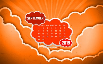 September 2019 Calendar, 4k, orange clouds, autumn, 2019 calendar, September 2019, creative, abstract clouds, September 2019 calendar with clouds, Calendar September 2019, orange background, 2019 calendars