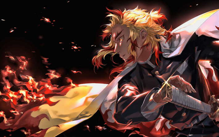 Download Wallpapers 4k Zenitsu Agatsuma Fire Demon Hunter Kimetsu No Yaiba Warrior Demon Slayer Manga Katana Zenitsu Agatsuma With Sword For Desktop Free Pictures For Desktop Free