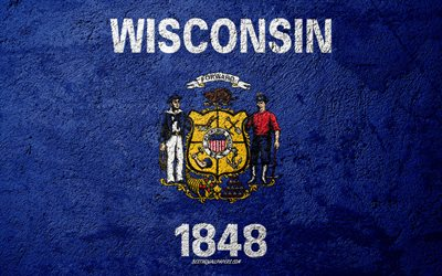 Flag of State of Wisconsin, concrete texture, stone background, Wisconsin flag, USA, Wisconsin State, flags on stone, Flag of Wisconsin