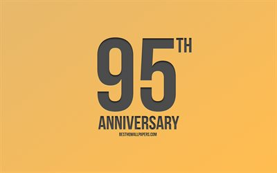 95th Anniversary sign, golden background, carbon anniversary signs, 95 Years Anniversary, stylish anniversary symbols, 95th Anniversary, creative art