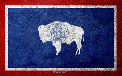 Flag of State of Wyoming, concrete texture, stone background, Wyoming flag, USA, Wyoming State, flags on stone, Flag of Wyoming